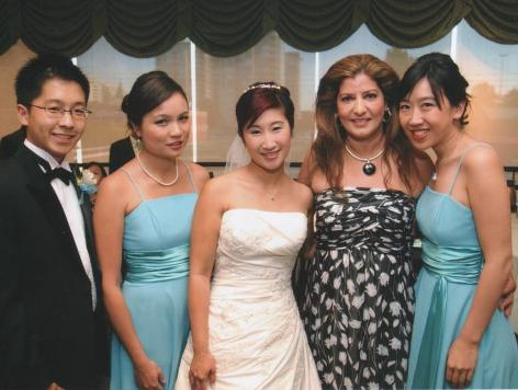 Corinna Lee's Wedding - August 2009 LH to RH Kenneth Lee (student & brother to Corinna), Germaine Lowe, Corinna Lee, Mrs. S., Gillian Leung (all former students)