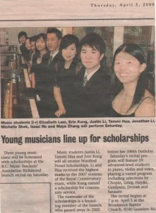 Winifred Proud Scholarship Winners-Richmond News Article-3 April, 2008