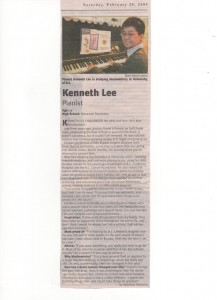 Kenneth Lee: 30 Extraordinary Youth Under 30 - Richmond Review Article - Published 28 February, 2009