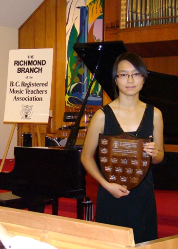 Myra Lam - Recipient of the BCRMTA Richmond Branch Highest Exam Mark Trophy for June 2009 Grade 8 RCM Piano Examination awarded at the First Class Honors Recital October 2009